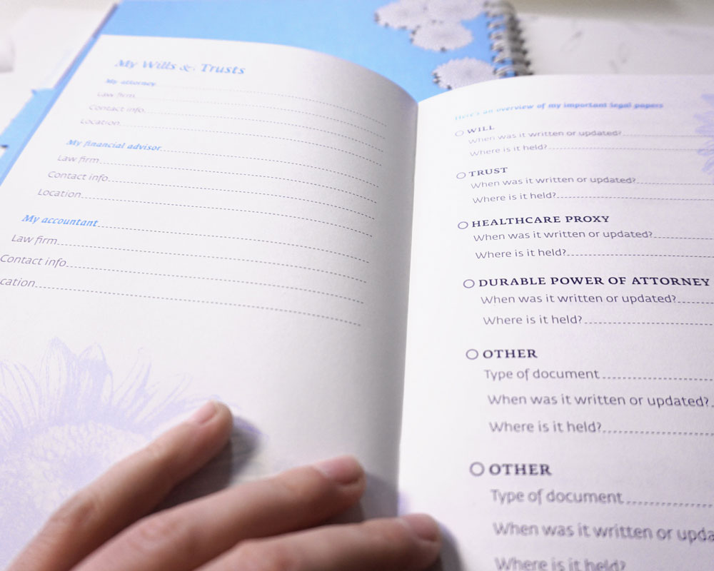 Make a list of need-to-know people, policies and possessions inside the MY ASSETS booklet.